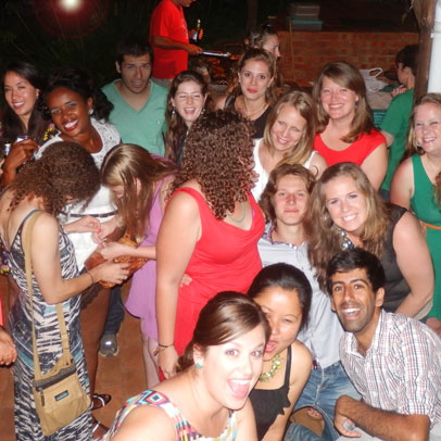 Party at Sundowners! Hostel guests having fun