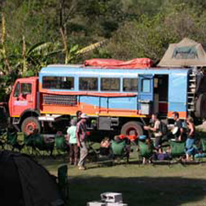 Overlanders group in the backpackers' campsite