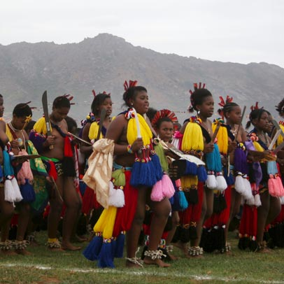 Young Swazi women performing the annual Reed Dance