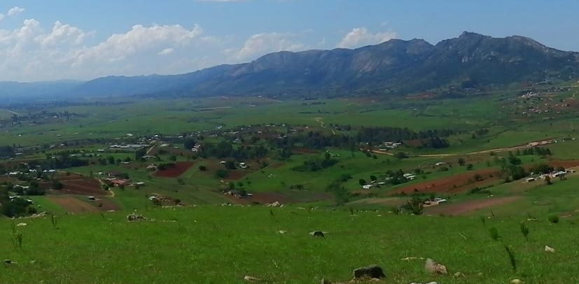 Hilltop view of Ezulwini Valley, central Swaziland